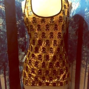 Gold sequin blouse with black skulls